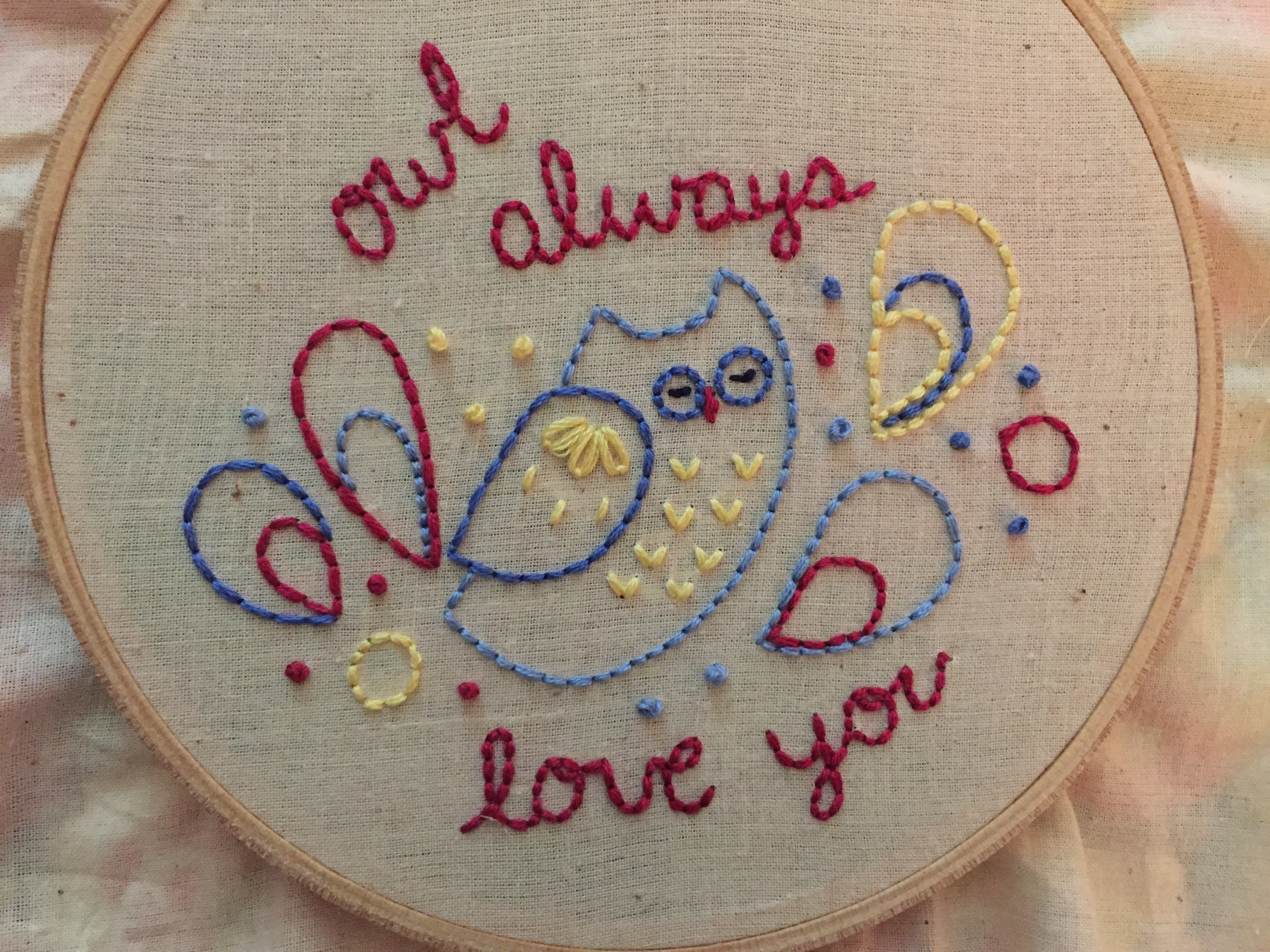 DIY Hand Embroidery U2013 Owl Always Love You | Pink Bows U0026 Twinkle Toes