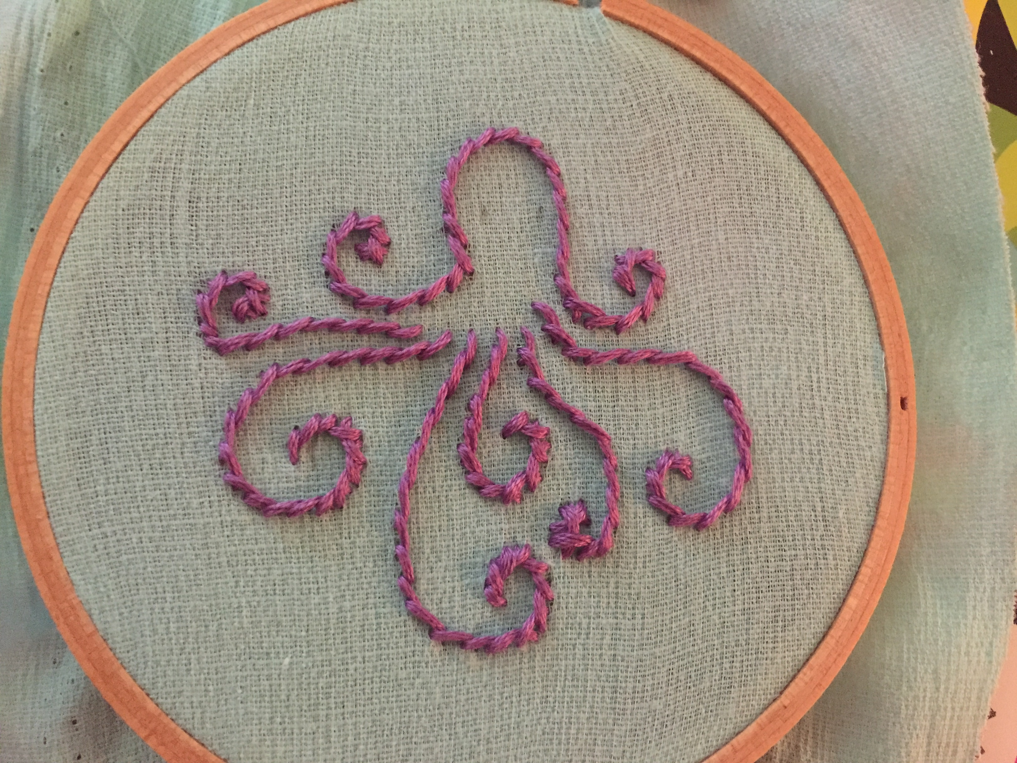 Diy hand embroidery olivia the octopus pink bows