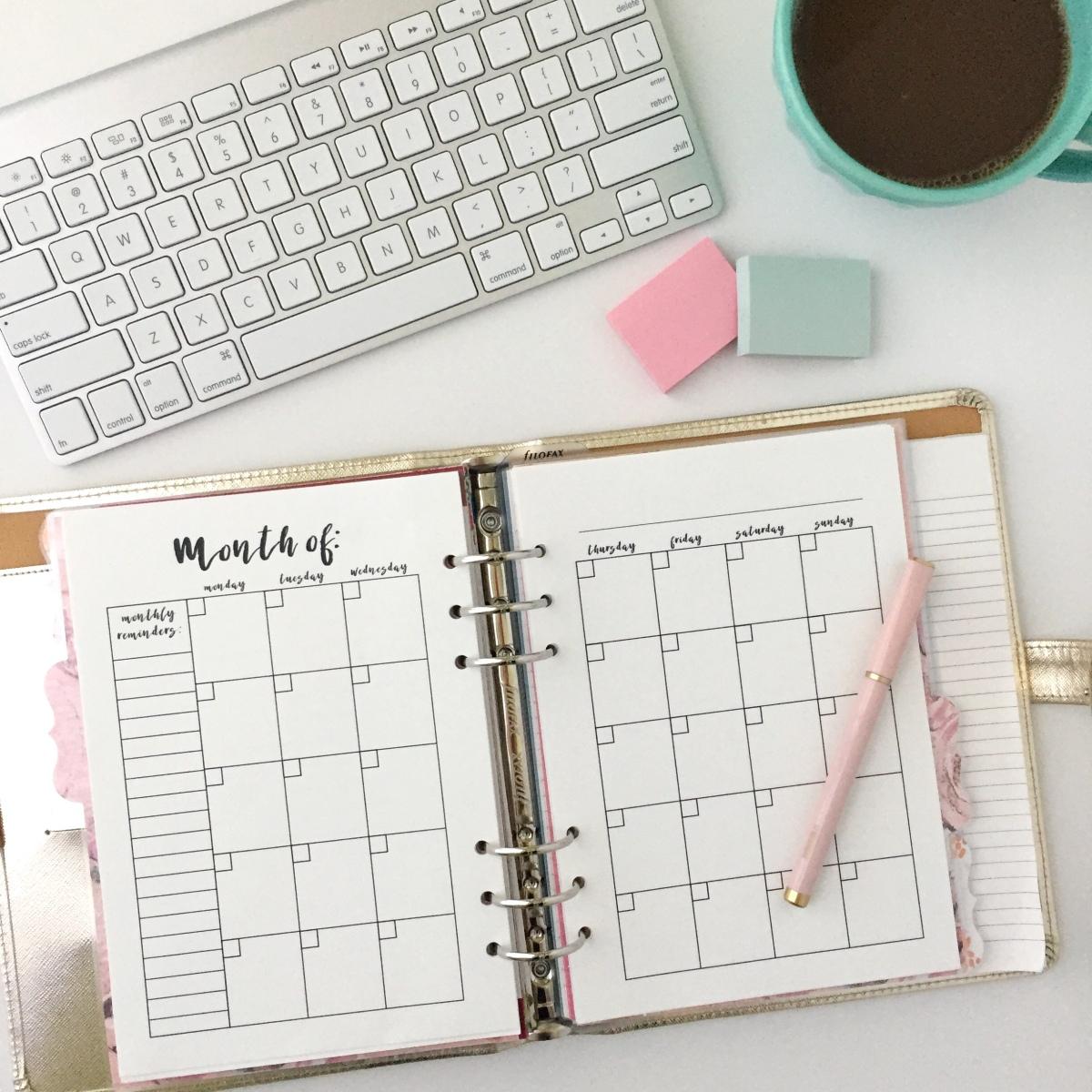 monthly calendar  free printable planner insert