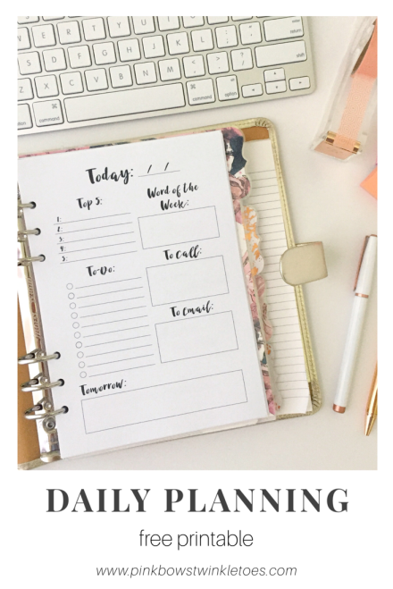 Daily Planning Page: Free Printable Planner Insert - Pink Bows & Twinkle Toes