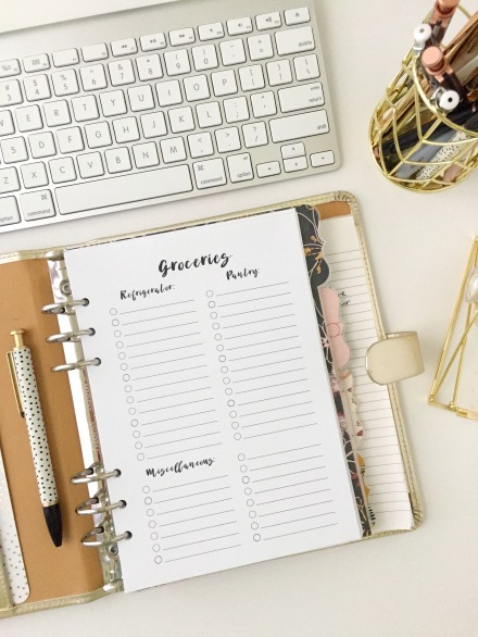 Grocery List: Free Printable Planner Insert - Pink Bows & Twinkle Toes