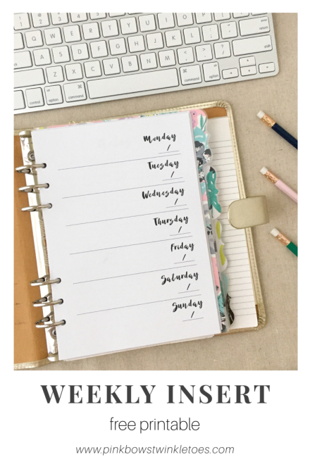 Single-Page Weekly Planner - Free Printable Insert - Pink Bows & Twinkle Toes