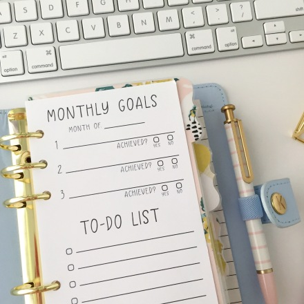 Personal Size, Monthly Goals + To-Do List Insert: Free Planner Printable - Pink Bows & Twinkle Toes
