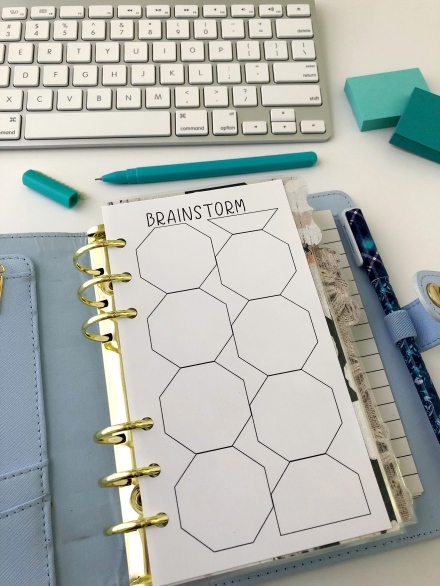 Brainstorm Insert: Free Personal Size Planner Printable - Pink Bows & Twinkle Toes