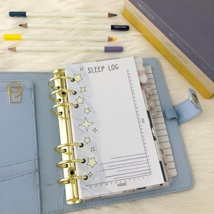 Sleep Log Insert: Free Personal Size Planner Printable - Pink Bows & Twinkle Toes